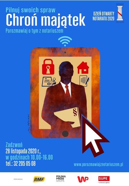 Plakat z posturą mężczyzny w garniturze z dokumentami (kliknięcie spowoduje powiększenie obrazu)