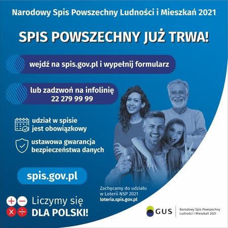 Plakat Głównego Urzędu Statystycznego dotyczący rozpoczęcia Narodowego Spisu Powszechnego 2021 (kliknięcie spowoduje powiększenie obrazu)
