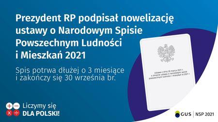 Informacja o podpisaniu przez Prezydenta RP nowelizacji ustawy, która wydłuża czas trwania spisu do 30 września 2021 r. (kliknięcie spowoduje powiększenie obrazu)